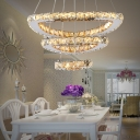 Third Gear Triangle Chandelier Light with Crystal Decoration Contemporary LED Hanging Lamp