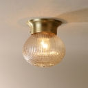 Prismatic Glass Spherical Flush Light Modern Design Single Head Ceiling Light in Brass