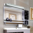 Crystal Linear LED Vanity Light Contemporary Makeup Lighting Fixture in Chrome Finish