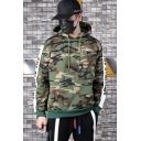 Guys Cool Letter Print Long Sleeve Camouflage Loose Fitted Green Pullover Hoodie