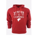 New Fashion Wolf Logo Letter WINTER IS COMING Print Cotton Fitted Hoodie for Men