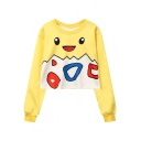 Lovely Yellow Cartoon Printed Round Neck Long Sleeve Pullover Cropped Sweatshirt