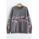 Crew Neck Long Sleeve Tribal Floral Embroidered Loose Fit Pullover Sweatshirt