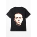 Black Smoking Boy Figure Print Letter Back Men's Loose Casual Cotton T-Shirt