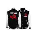 Classic Rib Knit Hem Stand Collar Long Sleeve Comic Letter DEADPOOL Print Button Front Black Baseball Jacket