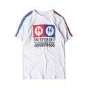 Cool Striped Short Sleeve Round Neck Letter OUTSTREET Flash Print Men's Graphic T-Shirt