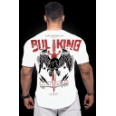 Men's Cool Letter BUL KING Wing Printed Outdoor Sport Running Quick Dry Fitted Graphic T-Shirt