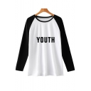 Fashion Round Neck Colorblock Long Sleeve Letter YOUTH Print Casual Loose Unisex T-Shirt