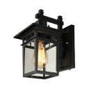 Industrial Vintage Wall Sconce with Clear Glass Shade in Black for Indoor/Outdoor Lighting