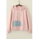 Girls Basic Simple Patched Long Sleeve Loose Fit Drawstring Hoodie