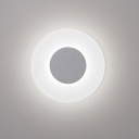 Acrylic Disc Shape Wall Lamp Simplicity 1 Head Wall Mount Light in White for Bedroom