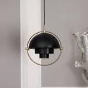 Dome Pendant Light Designers Style Rotatable Metal 1 Head Decorative Drop Light in Black
