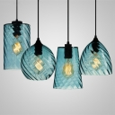Geometric Pendant Light Modern Fashion Blue Glass Single Light Art Deco Hanging Light