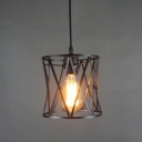 Industrial Pendant Light with 7.09''W Cylinder Metal Shade, Black
