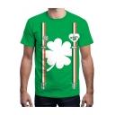 Popular Green 3D Leaf Clover Pattern Short Sleeve Unisex T-Shirt