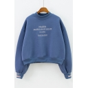 Mock Neck Fashion Letter Printed Long Sleeve Relaxed Leisure Pullover Sweatshirt for Girls