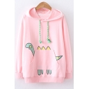 Lovely Funny Cartoon Dinosaur Print Pocket Long Sleeve Relaxed Drawstring Hoodie