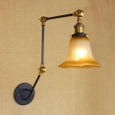 Ribbed Wall Mount Fixture Retro Style Frosted Glass Single Light Sconce Light in Brass Finish