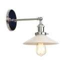 Chrome Armed Wall Light Sconce Simplicity Opal Glass Single Head Wall Lamp for Sitting Room