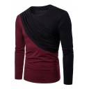 Fashion Colorblock Patchwork Round Neck Long Sleeve Men's Fitted T-Shirt