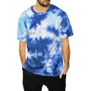 New Stylish Cool 3D Tie Dye Crew Neck Short Sleeve Blue Casual T-Shirt for Guys