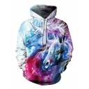 Hot Trendy 3D Unicorn Printed Long Sleeve Casual Loose White Drawstring Hoodie