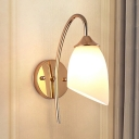 Opal Glass Curved Arm Wall Sconce Modern Fashion Industrial 1 Light Sconce Light in Gold for Bedroom