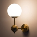 Gold Finish Ball Wall Mount Light Modern Fashion Frosted Glass 1 Bulb Decorative Lighting Fixture
