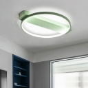 Metallic Halo Ring LED Ceiling Fixture Minimalist Nordic Style Sitting Room Flush Mount Lighting