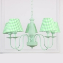5 Lights Coolie Chandelier with Trellis Pattern Lodge Style Fabric Shade Hanging Lamp in Green