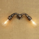 2 Lights Open Bulb Wall Sconce Industrial Iron Wall Mount Fixture in Antique Bronze/Brass/Silver