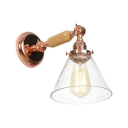 Wood Armed Wall Lamp with Cone Glass Shade Modernism 1 Light Wall Light in Rose Gold