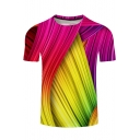 Cool 3D Red and Yellow Colorblock Line Print Short Sleeve T-Shirt