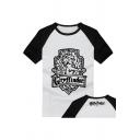 Round Neck Colorblock Raglan Sleeve Popular Harry Potter Gryffindor Badge Pattern Cotton White T-Shirt