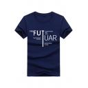 Unique Letter FUTUAR Printed Men's Basic Short Sleeve Cotton T-Shirt