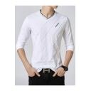 Men's Simple Letter Print Chest Long Sleeve V-Neck Fitted T-Shirt