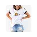 Trendy Letter FIVE MORE MINUTES Sleeping Egg Print Contrast Trim White T-Shirt