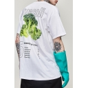 New Stylish Unique Broccoli Printed Summer Loose Fitted Graphic T-Shirt