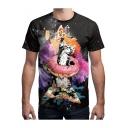 Black Cool 3D Cartoon Pizza Cat Graffiti Unisex Loose Fitted T-Shirt