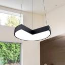 Acrylic Geometry Shade LED Hanging Chandelier Matte Black Finish 16