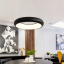 Matte Black Halo LED Pendant Lights Modern Style Metal 19.5