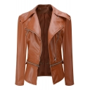 Multi Zip Embellished Long Sleeve Lapel Collar Plain Brown PU Jacket