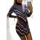 Trendy Chevron Striped Print High Neck Long Sleeve Blue Mini Pencil Dress