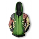 New Long Sleeve Green Zip Front Pattern Sports Hoodie