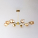 Branching LED Ceiling Light Designers Style Glass 8 Light Suspended Lamp in Gold