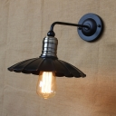 Chrome Finish Shallow Round Wall Lamp Industrial Metal Single Bulb Wall Light for Hallway