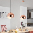 Half Round Suspended Light Simple Modern Metal Drop Light in Rose Gold for Hallway