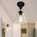 Mini Bell Shape Semi Flush Light Industrial Country Style Glass Art Deco Ceiling Light in Black