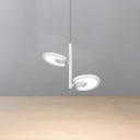 2 Light Mini LED Spotlight Contemporary Acrylic Lampshade Ceiling Pendant in White Finish