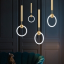 Brass Finish Ring LED Pendant Lights Post Modern Metal Single Light Hanging Fixture for Bedroom Restaurant